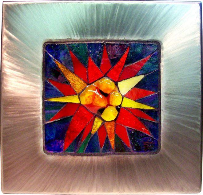 Mosaik im Edelstahlrahmen